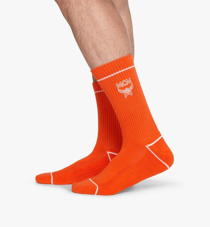 MCM Classic Logo Cotton Socks Orange MEZASBM01OR0ML Alternate View 4