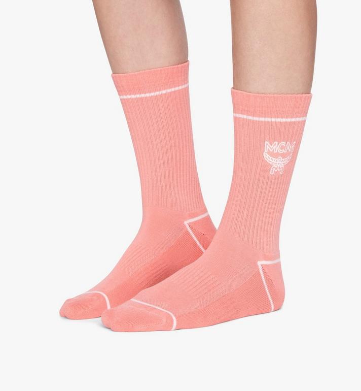 MCM Classic Logo Cotton Socks Pink MEZASBM01PK0ML Alternate View 3