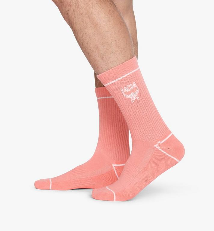 MCM Classic Logo Cotton Socks Pink MEZASBM01PK0ML Alternate View 4