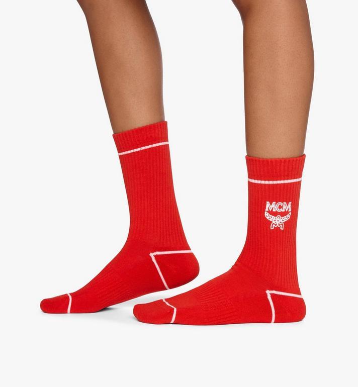 MCM Classic Logo Cotton Socks Red MEZASBM01RE0ML Alternate View 3