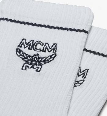 MCM Classic Logo Cotton Socks White MEZASBM01WT0ML Alternate View 2