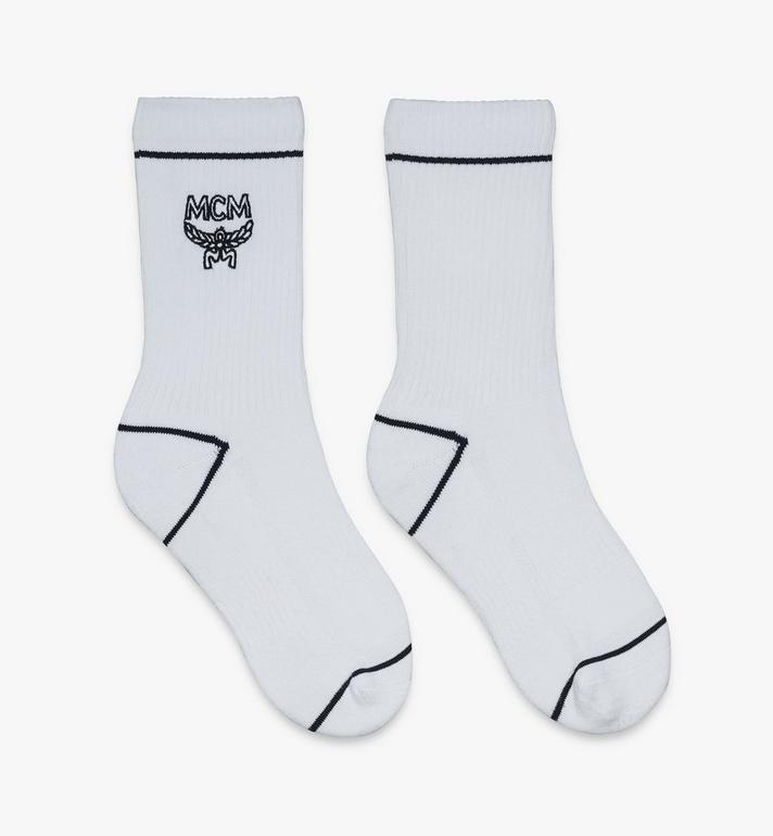 MCM Classic Logo Cotton Socks White MEZASBM01WT0SM Alternate View 1