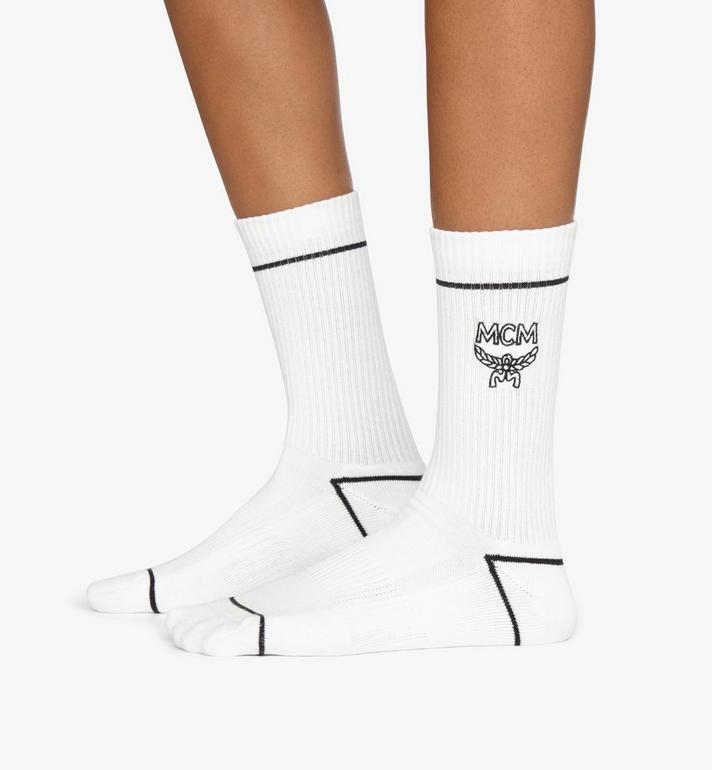 MCM Classic Logo Cotton Socks White MEZASBM01WT0SM Alternate View 3