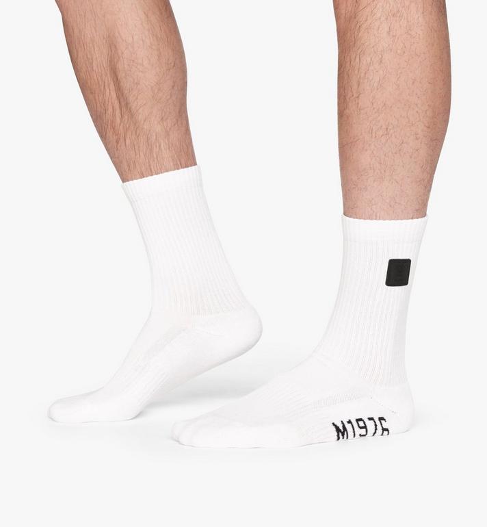 MCM 1976 Logo Plate Socks White MEZASBM02WT0SM Alternate View 4
