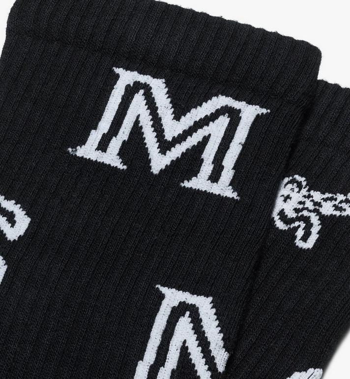 MCM Monogram Print Cotton Socks Black MEZASBM03BK0ML Alternate View 2