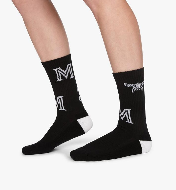 MCM Monogram Print Cotton Socks Black MEZASBM03BK0ML Alternate View 3