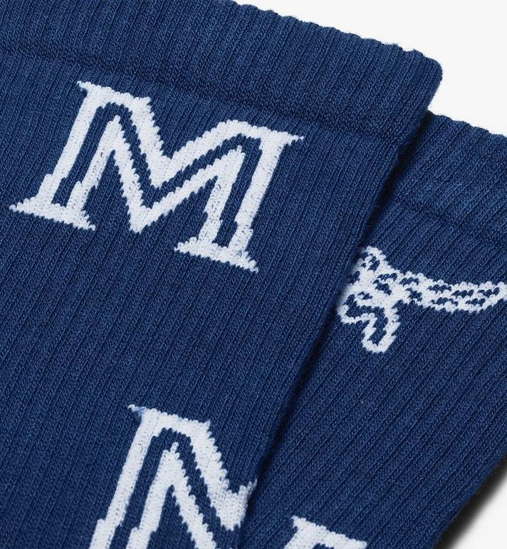 MCM Monogram Print Cotton Socks Blue MEZASBM03LU0ML Alternate View 2