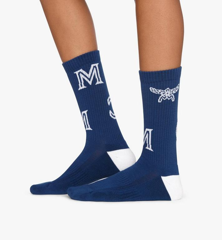 MCM Monogram Print Cotton Socks Blue MEZASBM03LU0ML Alternate View 3