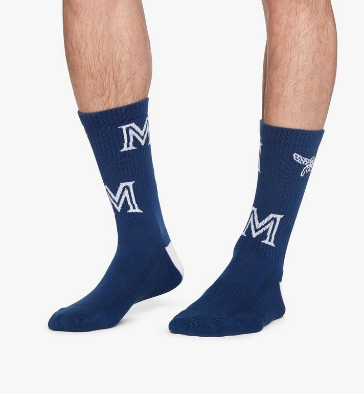 MCM Monogram Print Cotton Socks Blue MEZASBM03LU0ML Alternate View 4
