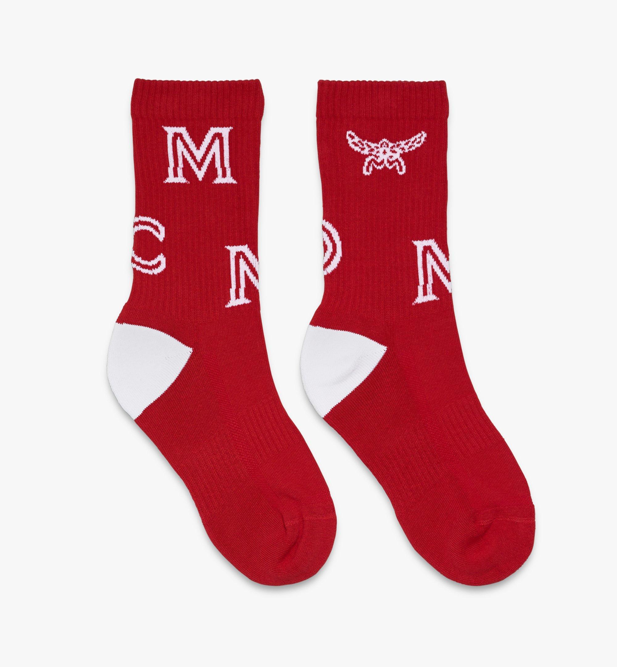 MCM Monogram Print Cotton Socks Red MEZASBM03RE0SM Alternate View 1