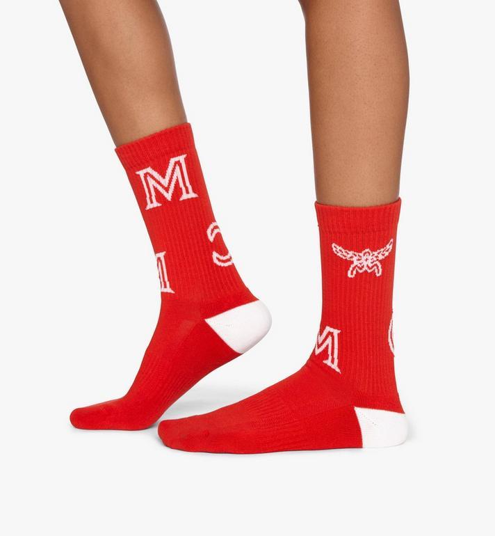 MCM Monogram Print Cotton Socks Red MEZASBM03RE0SM Alternate View 3