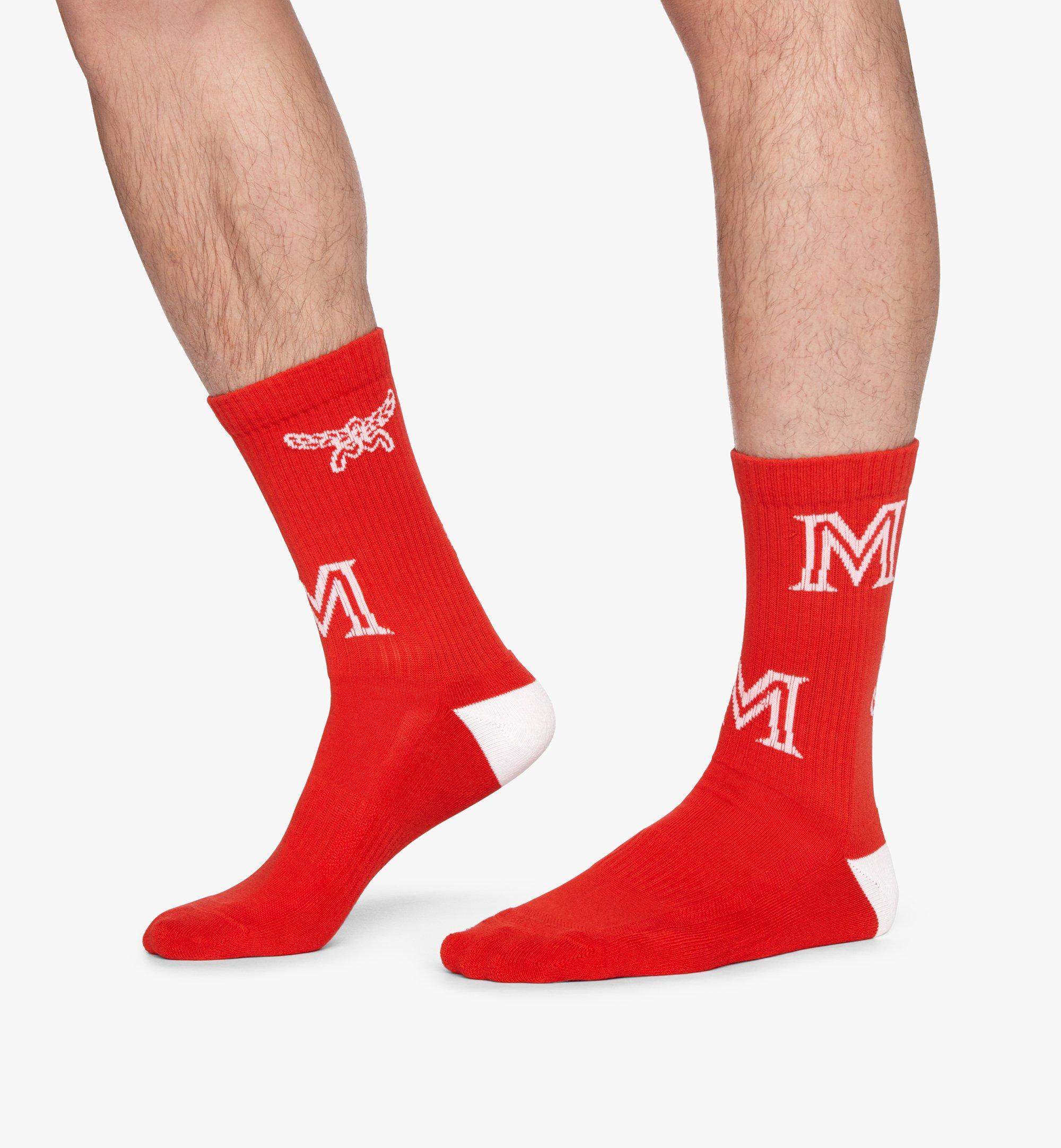 MCM Monogram Print Cotton Socks Red MEZASBM03RE0SM Alternate View 4