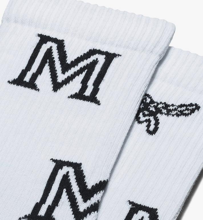 MCM Chaussettes classiques en coton à imprimé logo  MEZASBM03WT0ML Alternate View 2
