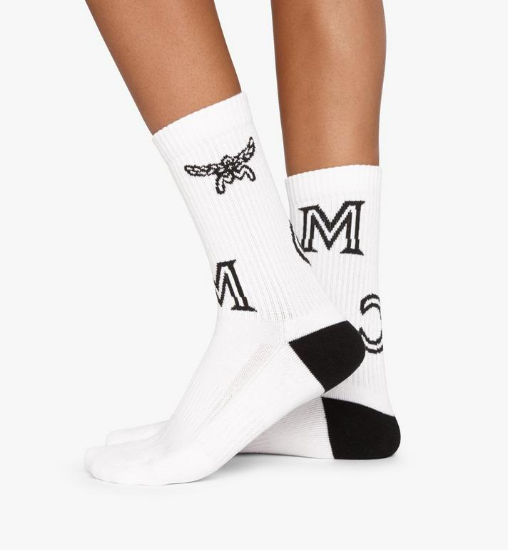 MCM Monogram Print Cotton Socks White MEZASBM03WT0ML Alternate View 3