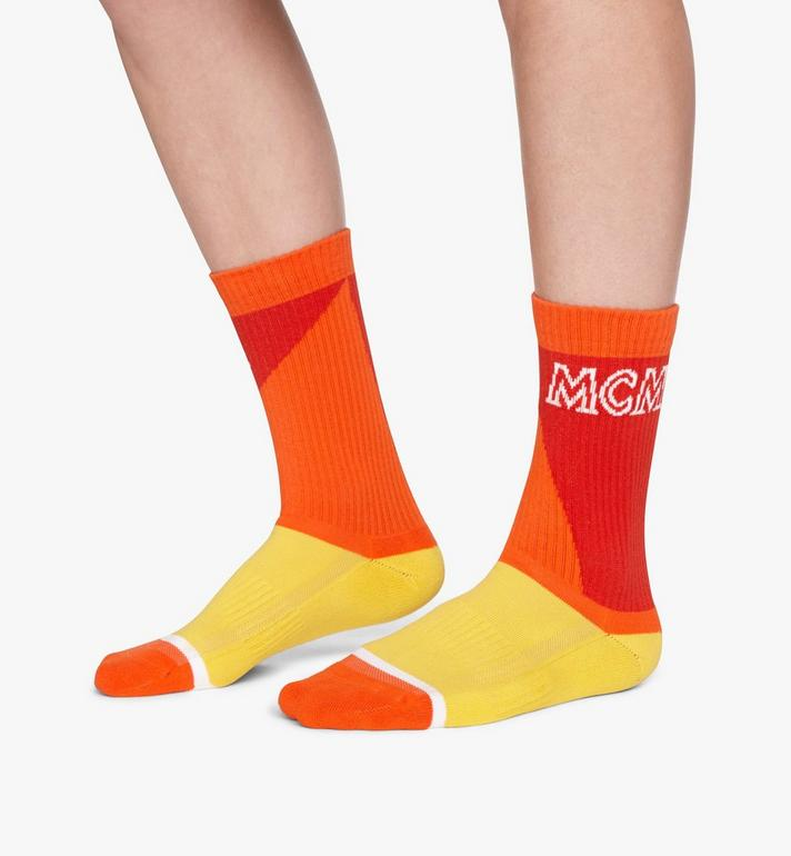 MCM Colorblock Cotton Socks Red MEZASBM04RE0ML Alternate View 3