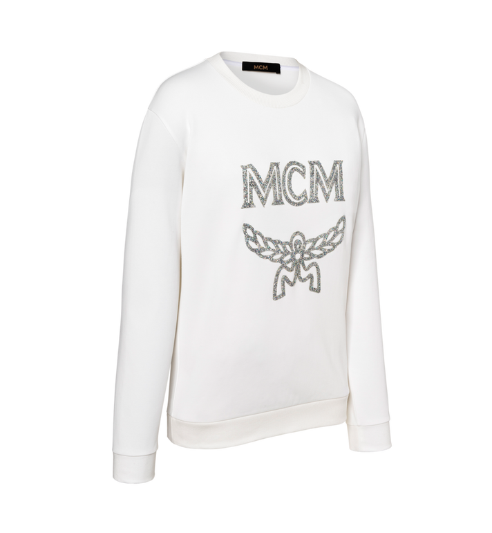 MCM Damen-Sweatshirt mit Crystal Detail Logo White MFA9SMM97WT00S Alternate View 2