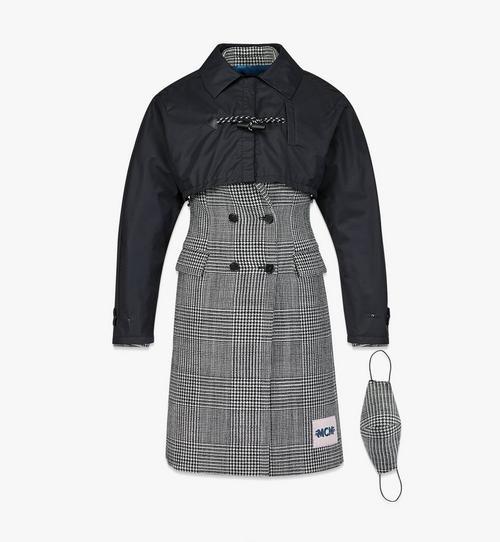 Manteau en laine à carreaux avec empiècement en nylon pour femme