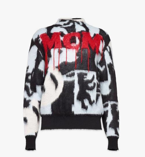 Pull en intarsia de laine à logo pour femme
