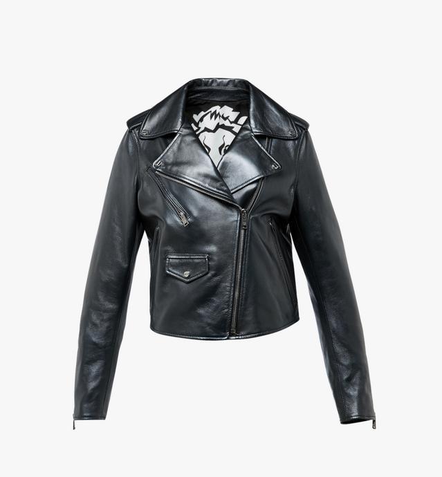 Women's Embossed Logo Leather Rider Jacket