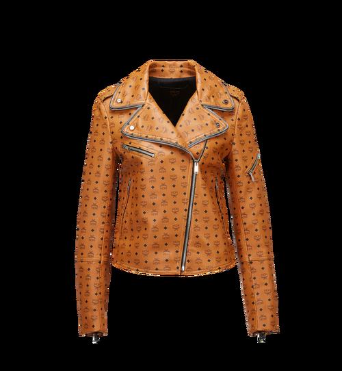 女士 Visetos 印花皮革騎士夾克