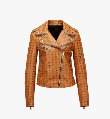 Damen-Bikerjacke aus Leder mit Visetos-Aufdruck