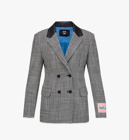 女士格紋羊毛休閒西裝外套