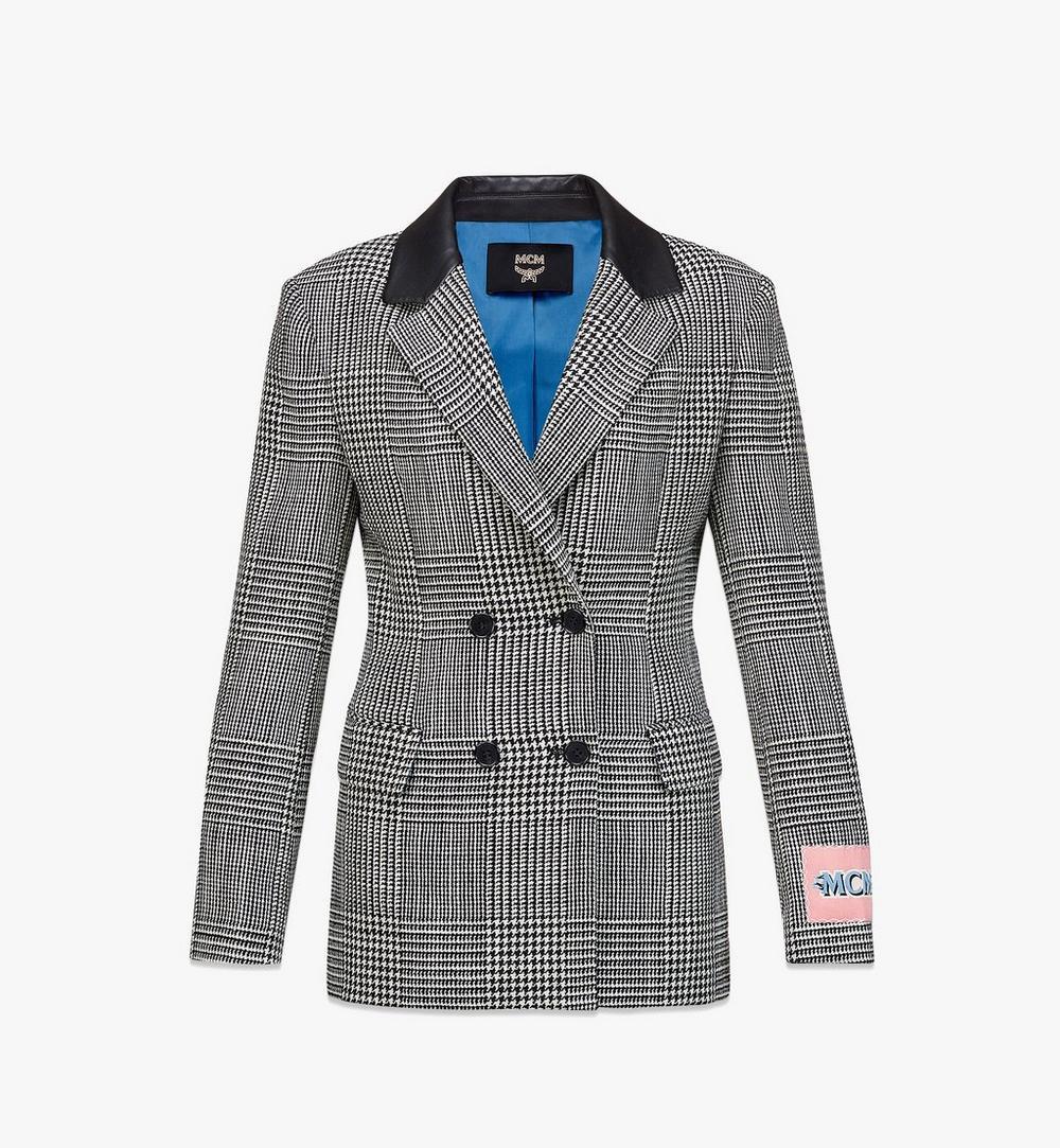 女士格紋羊毛休閒西裝外套 1