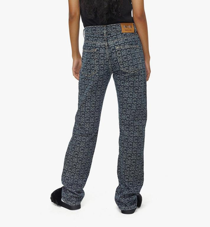 MCM Women's Monogram Straight Leg Jeans Black MFPAADS01VW040 Alternate View 4