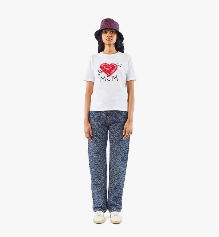 MCM Women's Valentine T-Shirt White MFTAACF01W200S Alternate View 3