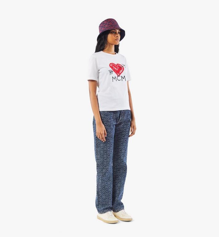 MCM Women's Valentine T-Shirt White MFTAACF01W200S Alternate View 4