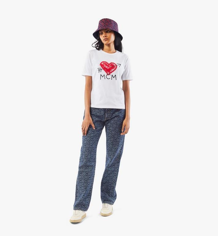 MCM Women's Valentine T-Shirt White MFTAACF01W200S Alternate View 5