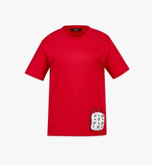 เสื้อยืดผ้าฝ้ายออร์แกนิกมีกระเป๋าติดซิปผ้าไนลอนสำหรับผู้หญิง