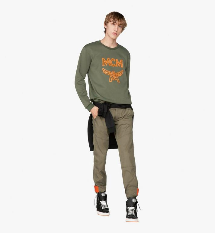 MCM Men's Crystal Logo Sweatshirt Green MHA9AMM96G800L Alternate View 3