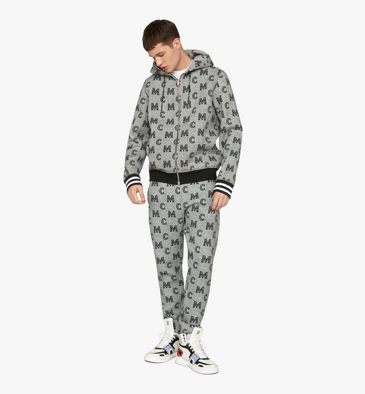 MCM Sweat-shirt zippé monogrammé à capuche pour homme Grey MHAASMM04EG00M Alternate View 3