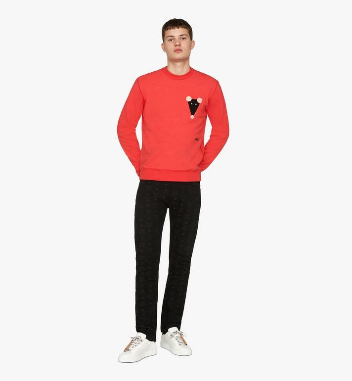 MCM Men's Year Of The Mouse Mockneck Sweatshirt Red MHAASSE02R400S Alternate View 3