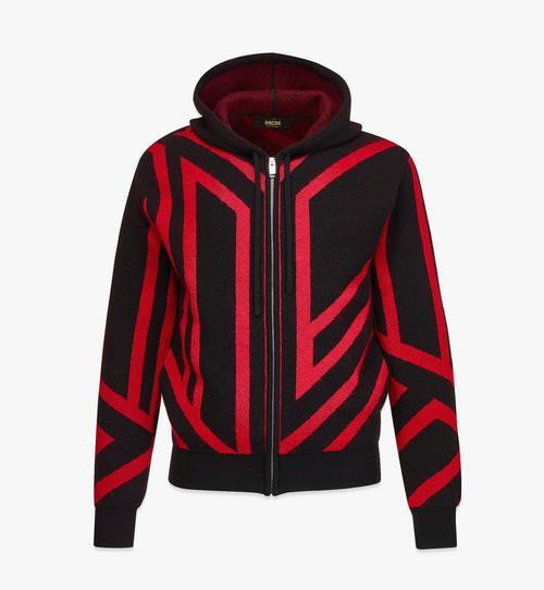 เสื้อฮู้ดดี้แบบมีซิปทำจากแคชเมียร์รีไซเคิลลายโมโนแกรมลูกบาศก์สำหรับผู้ชาย
