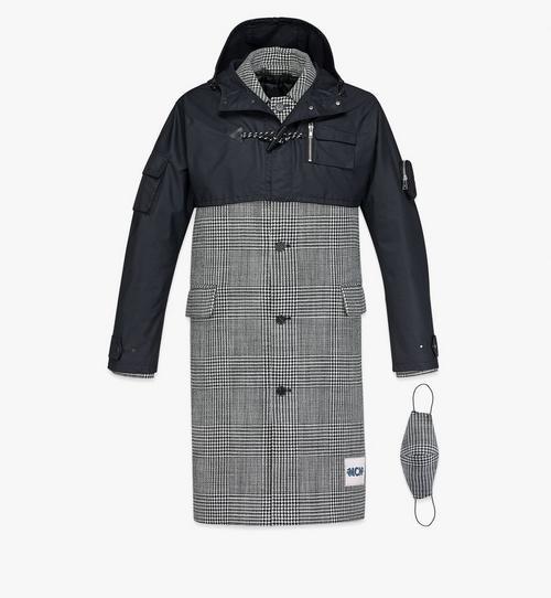 Manteau en laine à carreaux avec empiècement en nylon pour homme
