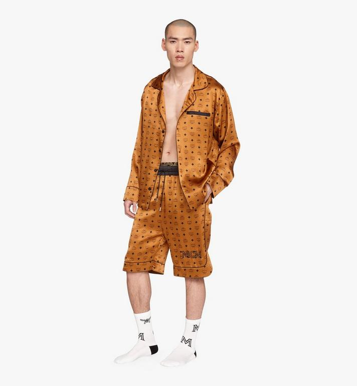 MCM Classic Logo Silk Pajama Shirt Cognac MHHASBM01CO0XL Alternate View 3