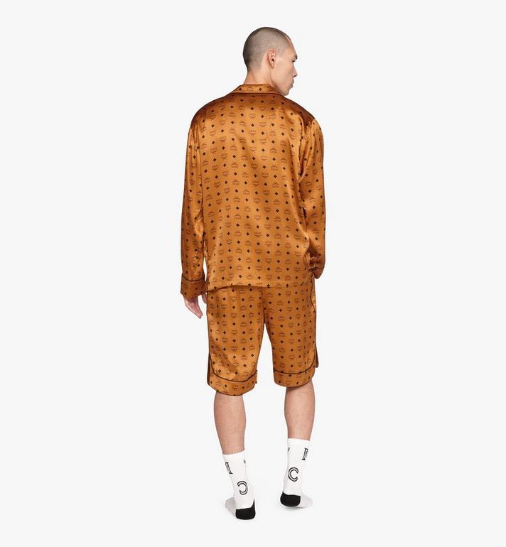 MCM Classic Logo Silk Pajama Shirt Cognac MHHASBM01CO0XL Alternate View 4