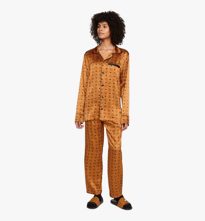 MCM Classic Logo Silk Pajama Shirt Cognac MHHASBM01CO0XL Alternate View 5