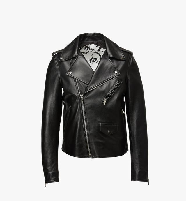 Veste de motard en cuir à logo embossé pour homme
