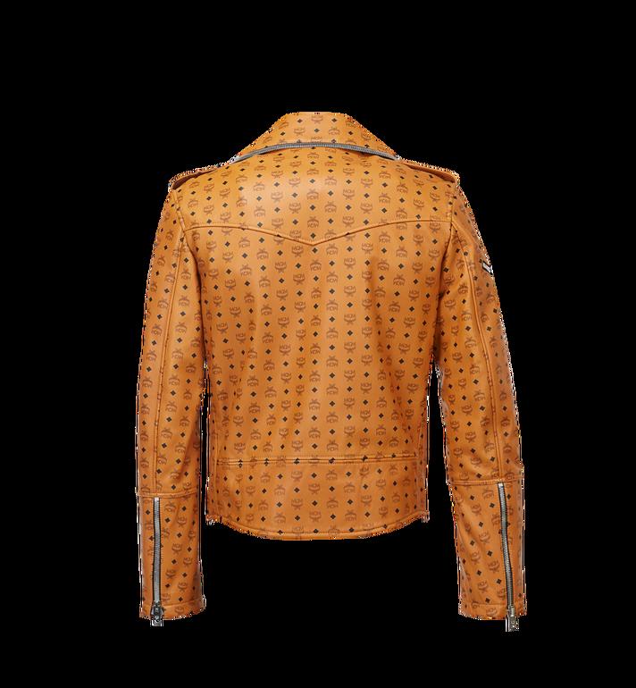 MCM Herren-Bikerjacke aus Leder mit Visetos-Print Cognac MHJ8SMM62CO00L Alternate View 3