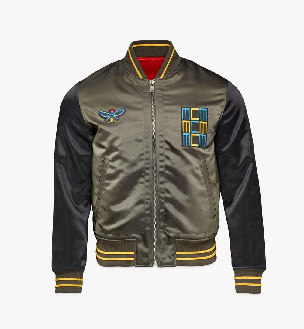 Men's Varsity Jacket in Geo Laurel Nylon 1