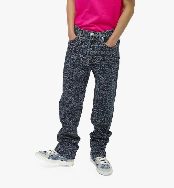 MCM Men's Monogram Straight Leg Jeans Black MHPAADS01VW048 Alternate View 4