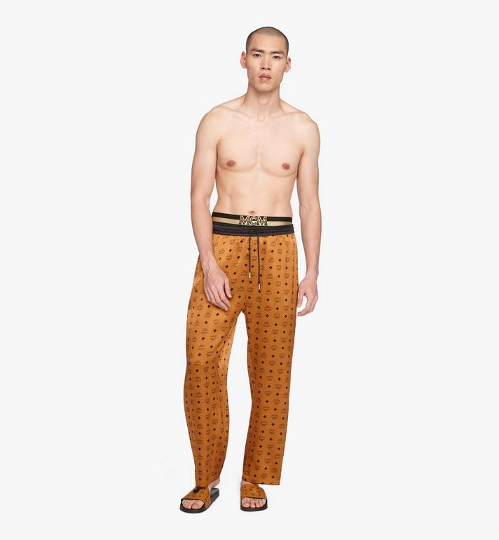 MCM Classic Logo Silk Pajama Pants Cognac MHPASBM01CO00L Alternate View 3