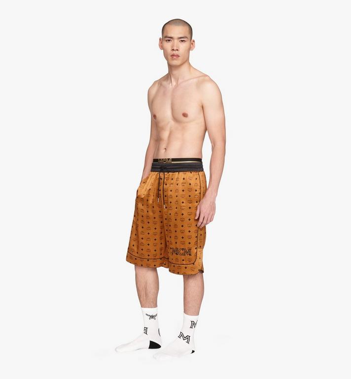 MCM Men's Silk Drawstring Shorts Cognac MHPASBM02CO0XL Alternate View 3