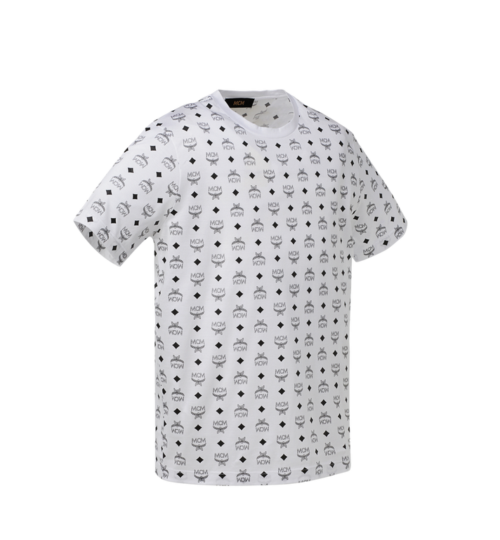 MCM Men's Visetos Print T-Shirt White MHT9SMM49WT00S Alternate View 2