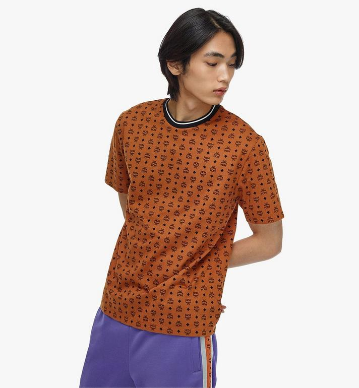 MCM Men's Visetos Print T-Shirt Cognac MHTAAMM05CO00M Alternate View 4