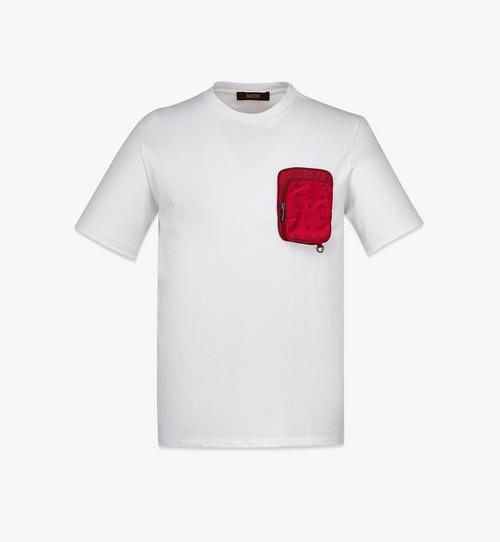 เสื้อยืดผ้าฝ้ายออร์แกนิกมีกระเป๋าติดซิปผ้าไนลอนสำหรับผู้ชาย
