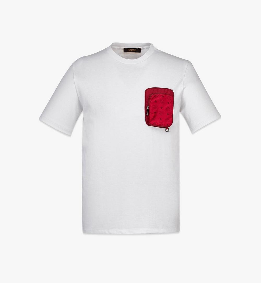 เสื้อยืดผ้าฝ้ายออร์แกนิกมีกระเป๋าติดซิปผ้าไนลอนสำหรับผู้ชาย 1